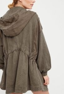 Free People Hooded Jacket in Military Green